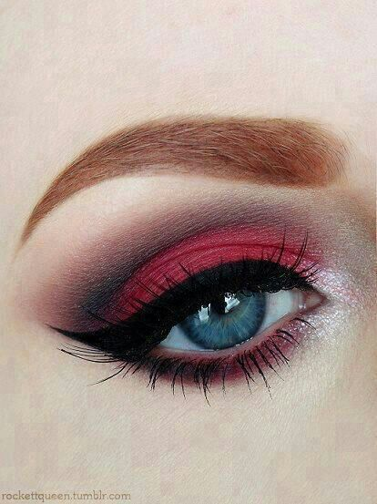Red smokey eye makeup. Love it!!