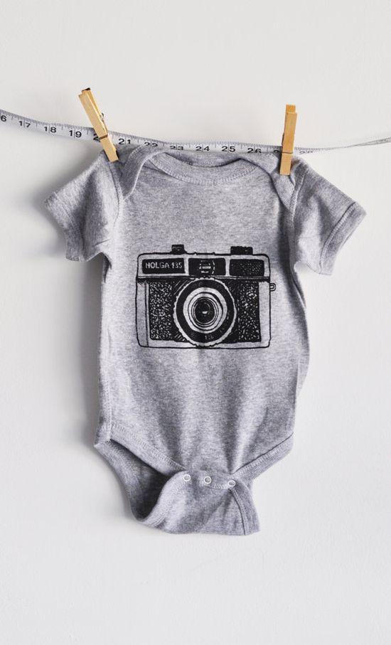 baby clothes baby onesie holga camera grey by littleleestudios, $16.00
