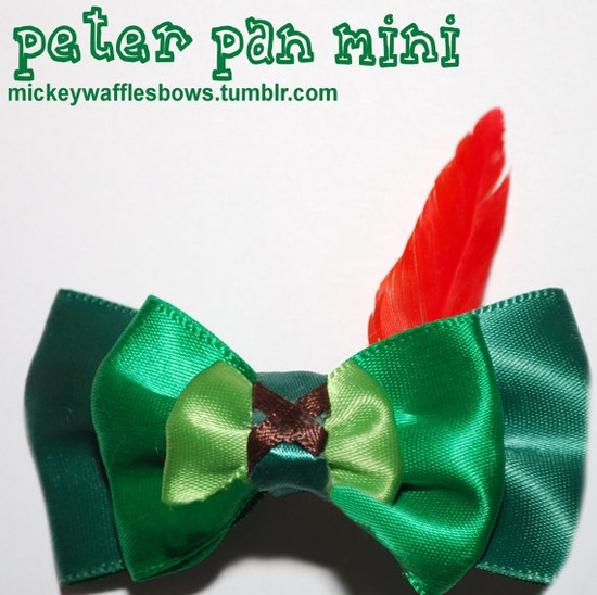 Mini Peter Pan Hair Bow. $3.00, via Etsy.