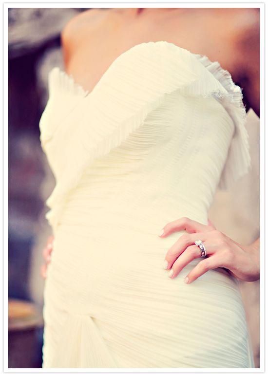 ruched vera wang wedding dress