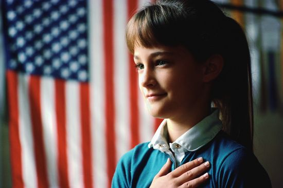 """Pledge of Allegiance every day in school.  Then we'd always sing """"God Bless America""""."""