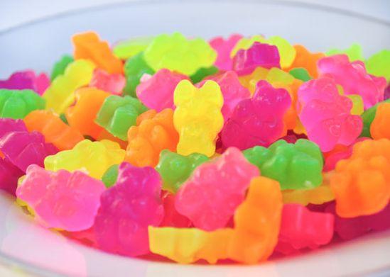 Neon gummy bear soaps make washing up fun.