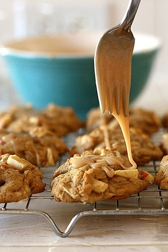 maple glazed apple cookies
