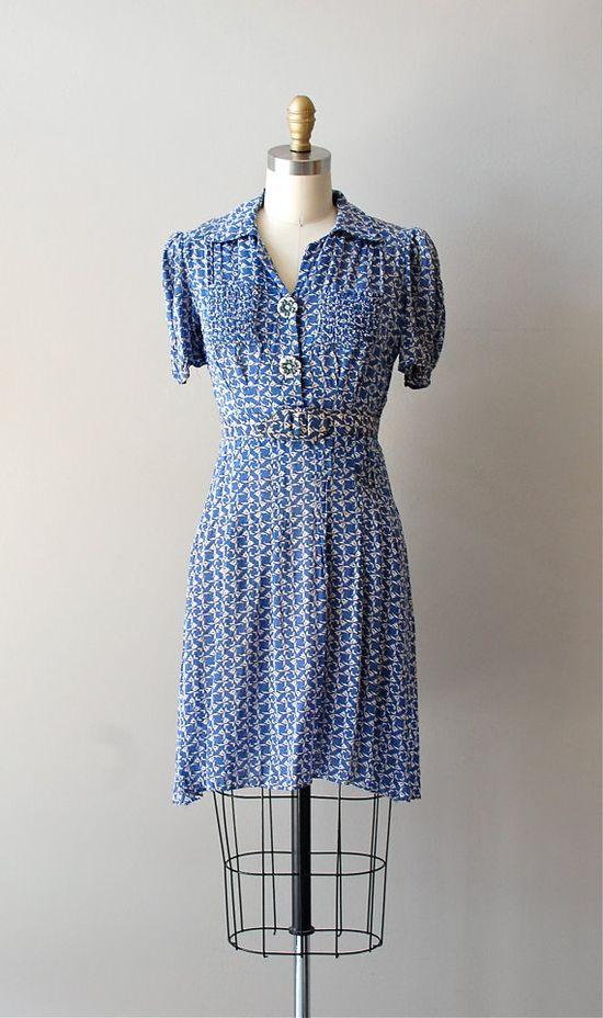 vintage 1930s Little Bluebells dress    #vintage dress