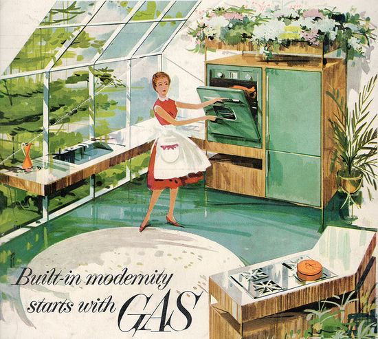 Built-in modernity starts with gas! #vintage #home #deco #illustration #ad