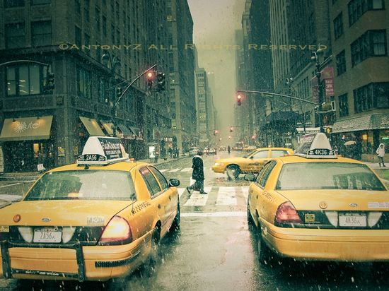 Snow Falling in New York City 8x10 Fine Art Print. $25.00, via Etsy.