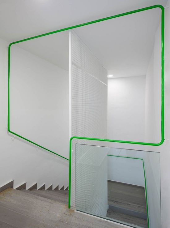 Green Bannister at the Social Services Center in Móstoles, Spain by dosmasuno arquitectos
