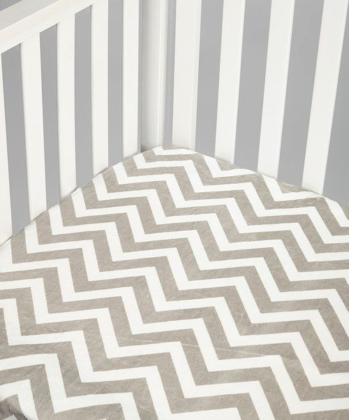 Take a look at this Lolly Gags Silver Zigzag Minky Fitted Crib Sheet on zulily today!