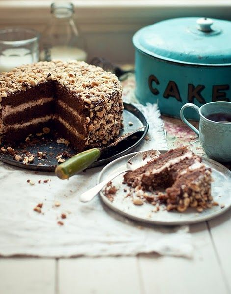 chocolate cake. love the vintage turquoise tin. Katie Quinn Davies, phtographer. #photography #food #styling
