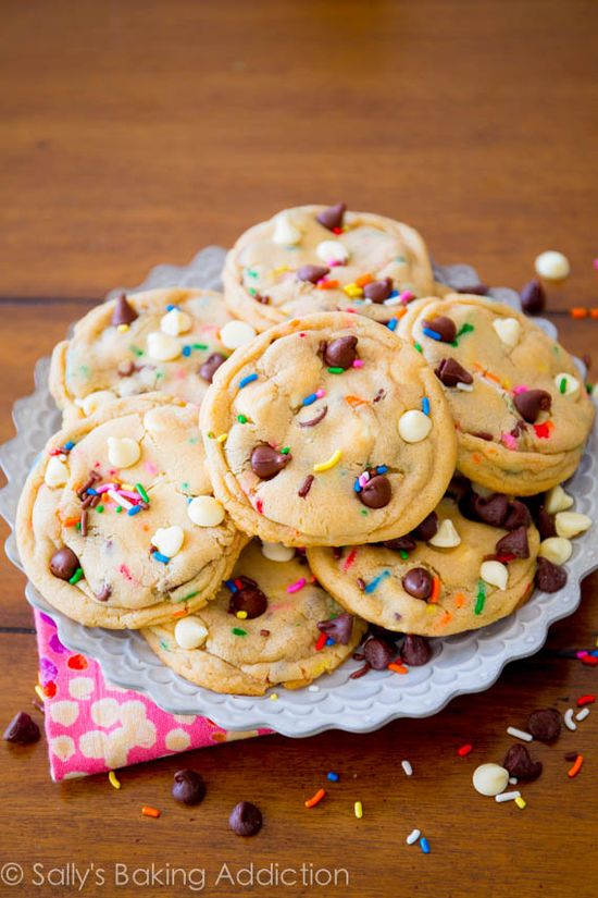Cake Batter Chocolate Chip Cookies - take what you love about chocolate chip cookies and funfetti cake batter and combine them in this magazine-featured cookies. Recipe @ sallysbakingaddic...