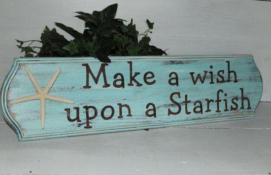 Starfish Make a Wish Sign Coastal Cottage Beach Decor