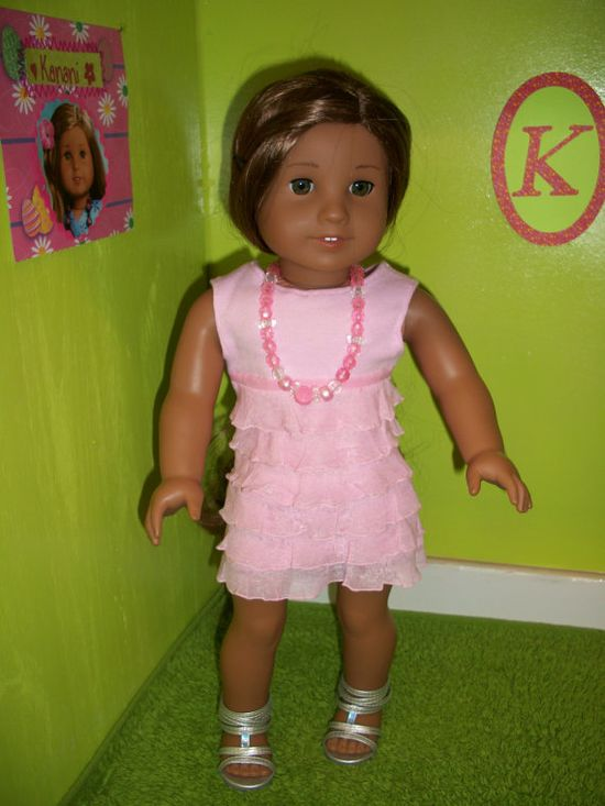 American Girl Doll Clothes--Pretty Pink Ruffled Dress. Sold on Etsy