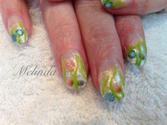 Sea design  by Melinda - Nail Art Gallery nailartgallery.na... by Nails Magazine www.nailsmag.com #nailart