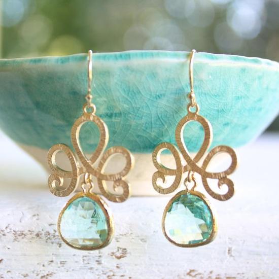 green amethyst gold bohemian earrings