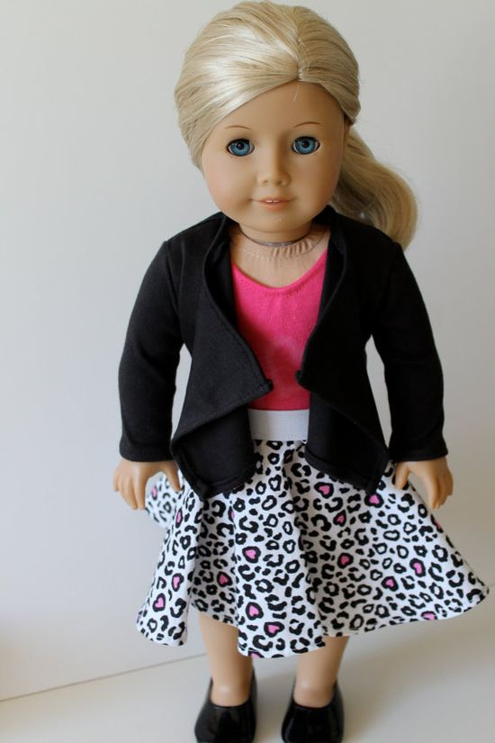 """""""Perfect for A Party"""" Outfit for American Girl by Orange Dot Designs, made with Liberty Jane tee and cascade cardigan patterns"""