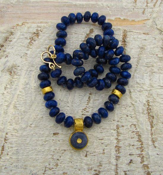 Gold Lapis Lazuli Necklace 24k  Solid gold Lapis Lazuli & by Omiya, $410.00