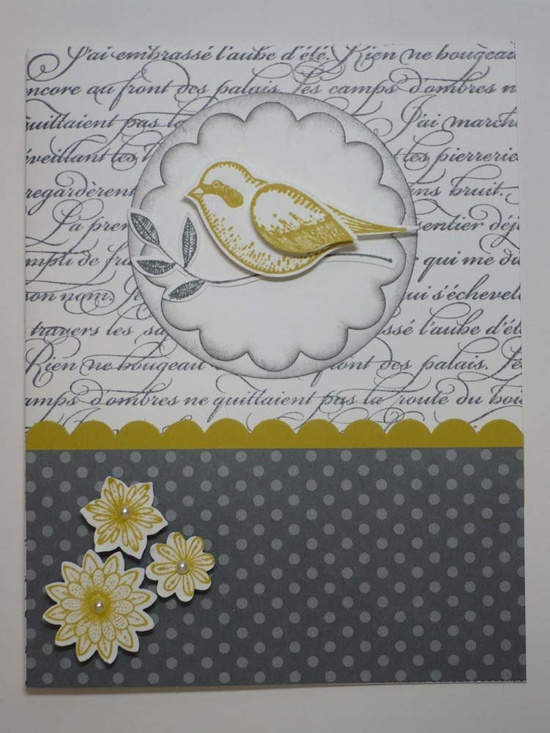 OISEAU FRANCAIS handmade Stampin Up greeting card by MadmBlueberry. $2.50, via Etsy.