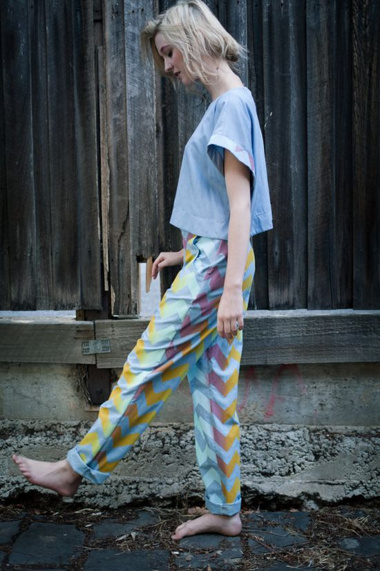 Loose, colorful jeans are perfect for kicking around on sunny days.