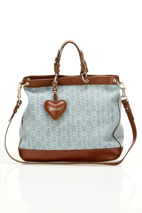 Gucci Valentine Denim Handbag.