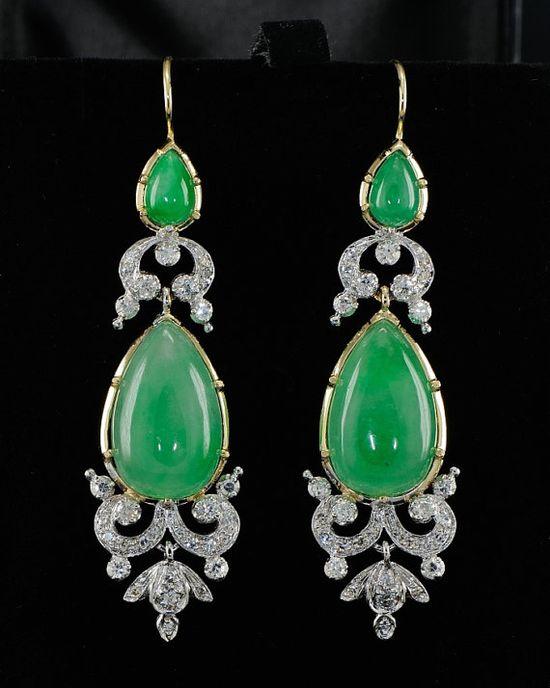 green jade and diamond earrings