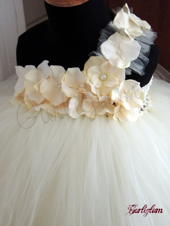 Ivory pearl tutu dress, flower girl dress, tutu dress via Etsy