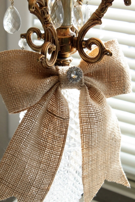 Burlap bow with rhinestone