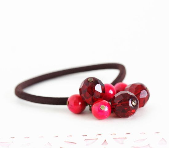 Beaded Hair Elastic  Ruby Red and Bright Pink  by JacarandaDesigns, $8.00