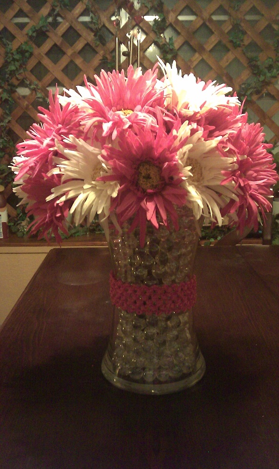 Flower arrangements made for a baby shower