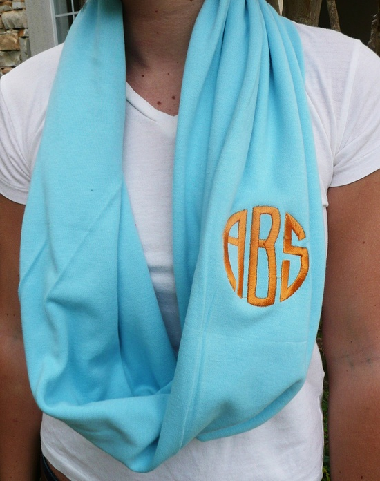 Monogrammed Infinity scarfTurq interlock knit by Baileywicks, $22.00