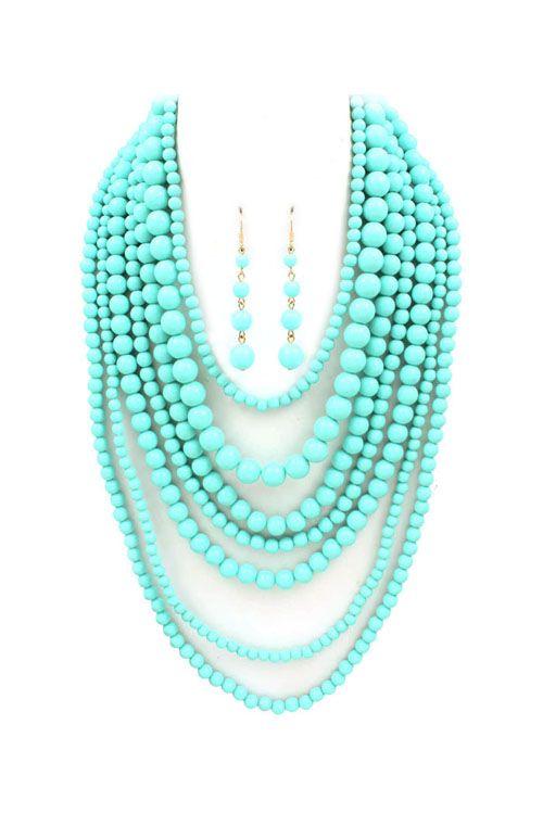 Turquoise Elizabeth Necklace Set nothing says summer like turquoise