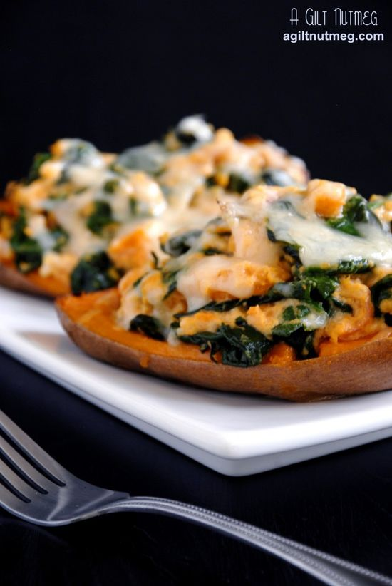 Spinach & Prosciutto Stuffed Twice-Baked Sweet Potatoes