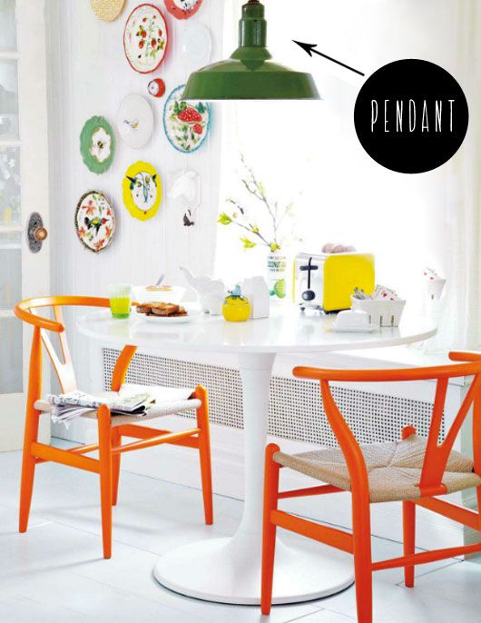 Colorful dining area.