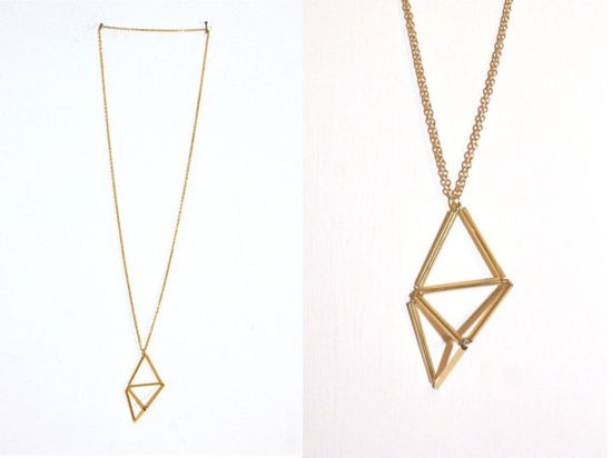 Necklace metal triangle geometry by thingslikediamond... $20,00