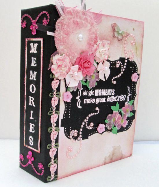 Pink and Black Photo Album  Scrapbook  Mini by TheBookWhisperer