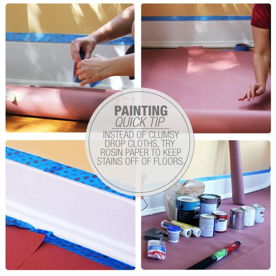 Don't forget to protect your hardwood floors when you're painting! Cover them with rosin paper, a nice alternative to the standard drop cloth.