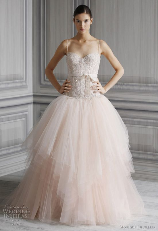 pink wedding dresses monique lhuillier - pretty princess bridal gown spring 2012 collection