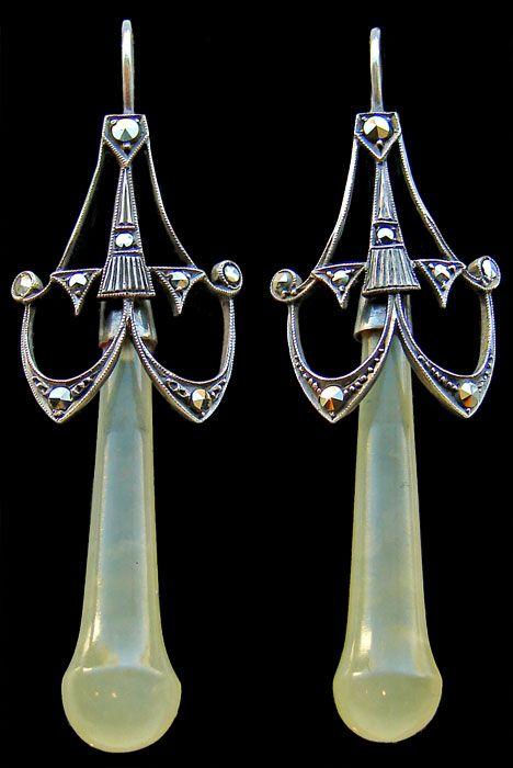 Art Deco  Earrings   Silver Chalcedony Marcasite    German, c.1920