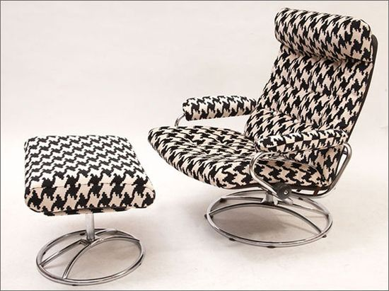 Houndstooth Eames Style Chair  and Ottoman