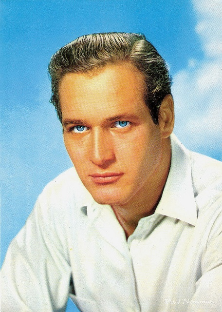 The chiseled features and piercingly blue eyes of Paul Newman. #actor #movies #Hollywood #1950s #Paul_Newman