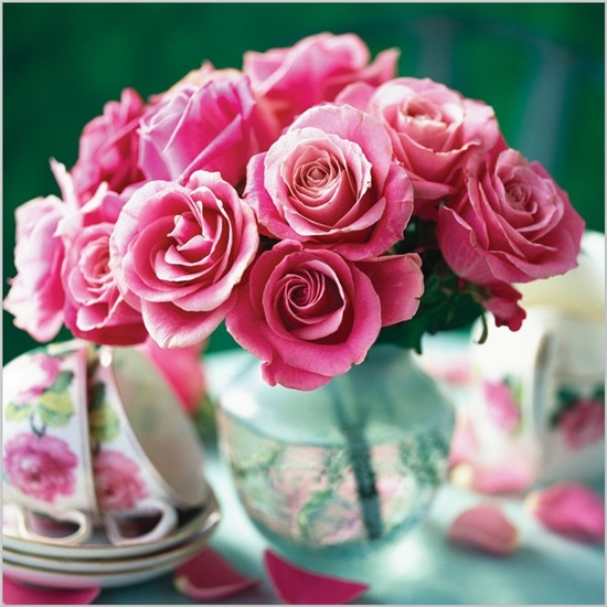 Pink roses with cups & saucers