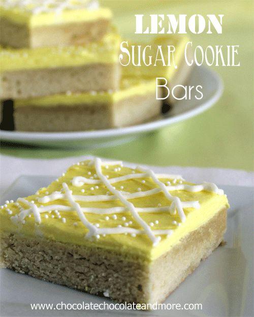 Lemon Sugar Cookie Bars from www.chocolatechoc...