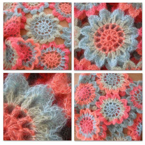 Japanese Flower Crochet Scarf 1 by rosyjojo,