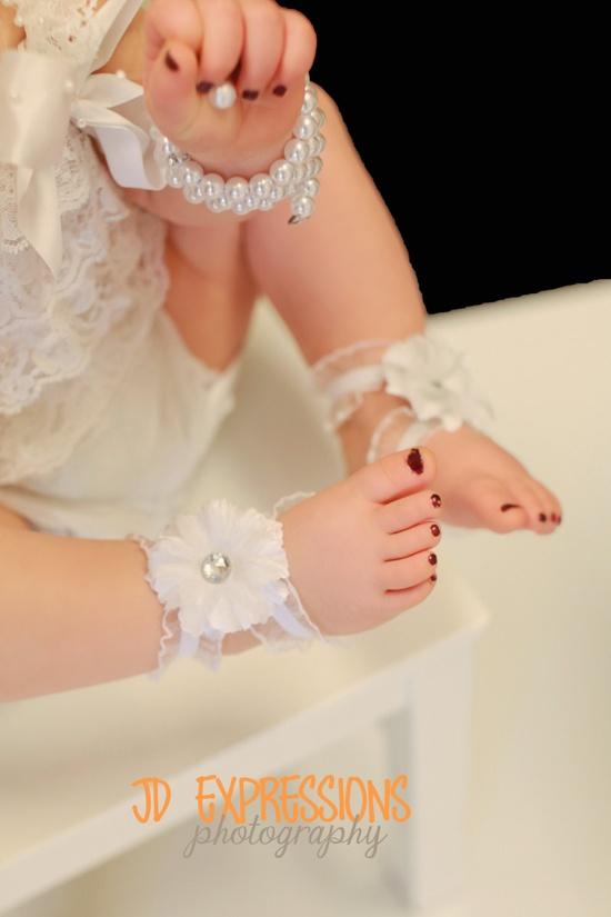 Baby girl barefoot sandals, baby girl, baby girl photo shoot, baby girl photo prop,?baby girl sandals, Barefoot Baby Sandals  Infant Sandals  White by BabyliciousDivas, $10.00