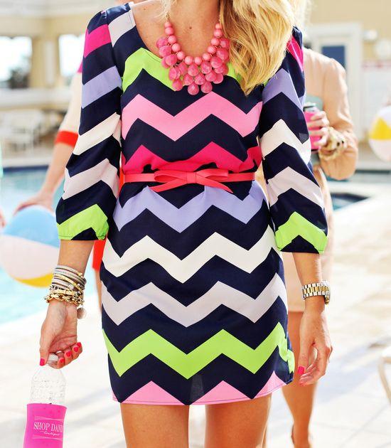 Chevron Dress with pink