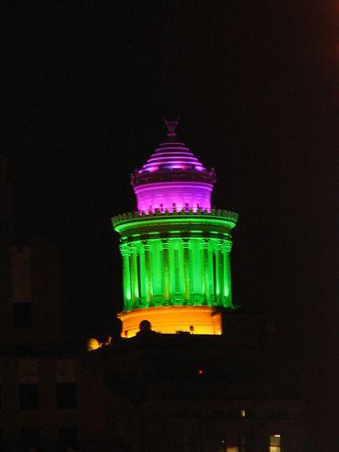 The Cupola atop the Hibernia Bank Building in Mardi Gras colors.