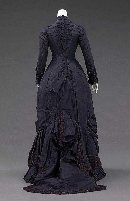 Dress  Mrs. F. M. Carroll  (American)    Date:      1877  Culture:      American  Medium:      silk, mother-of-pearl