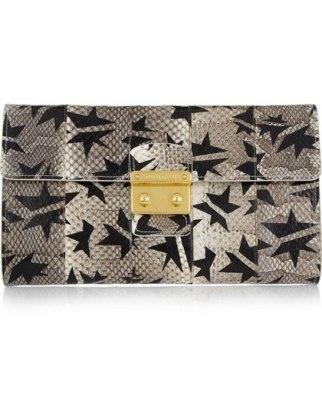 50 Dream Handbags: Miu miu star-print watersnake clutch, $1,250 #handbags, #handbags galore, #purse, #clutch,#evening bag, #designer bags, #valentino bags, #party bags.