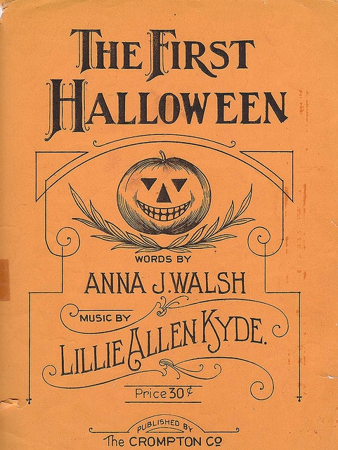Love every single one of the fonts used on this cover of this great 1920s book of Halloween sheet music. #sheet #music #vintage #retro #antique #orange #Halloween #pumpkin #fonts #text #design #illustration