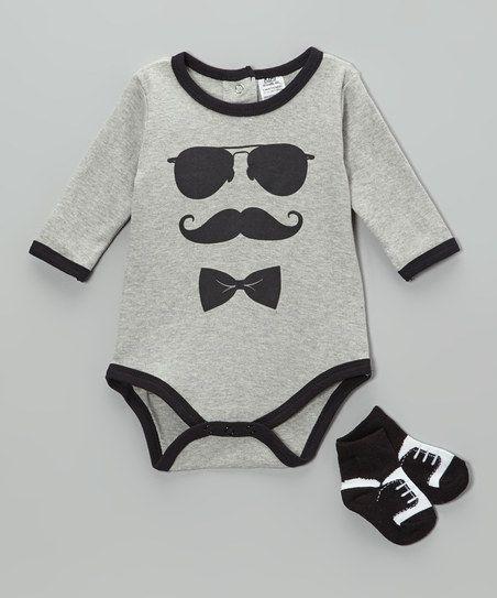 Gray & Black Mustache Bodysuit & Socks