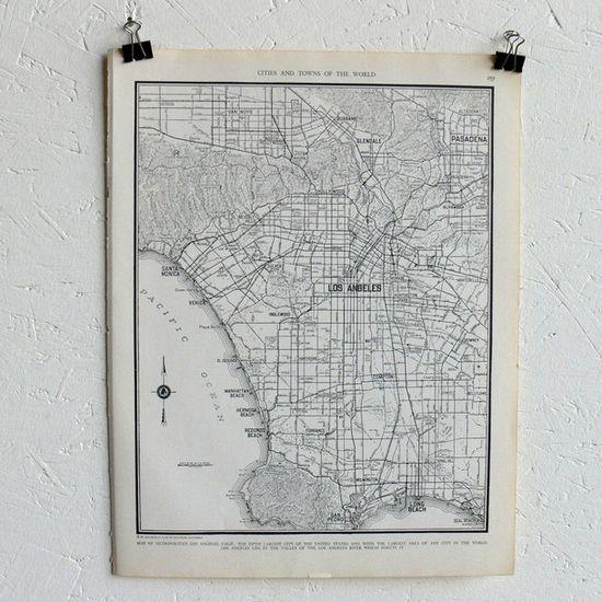Vintage Map Of Los Angeles